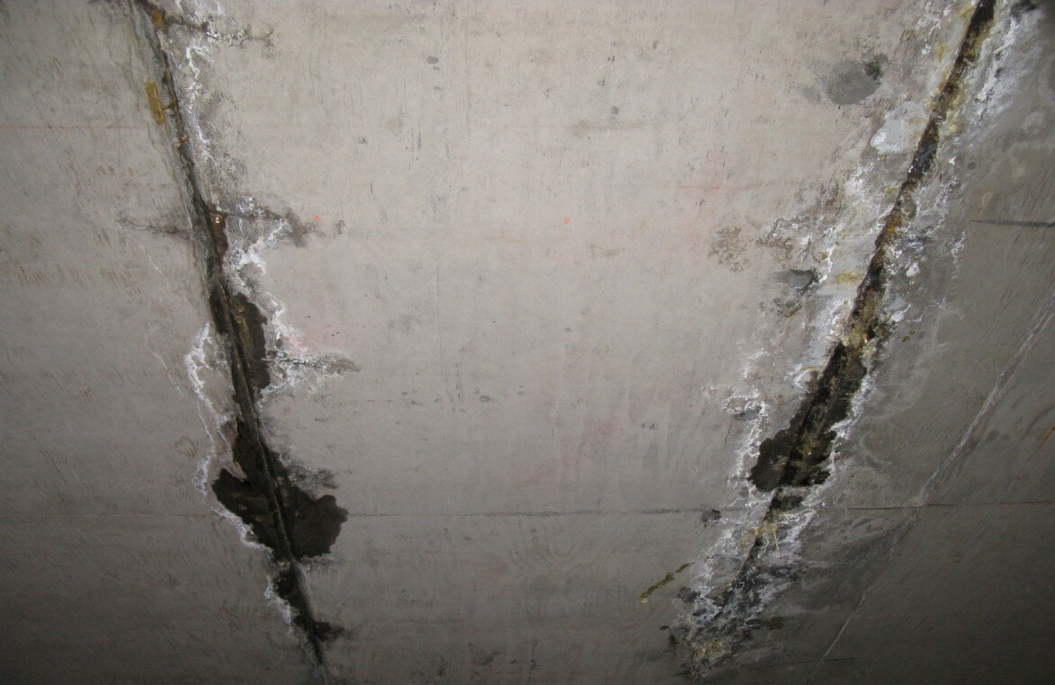 Figure 2 – Case Study 1 – Removal of concrete walking surface revealed improperly attached and terminated metal flashings.